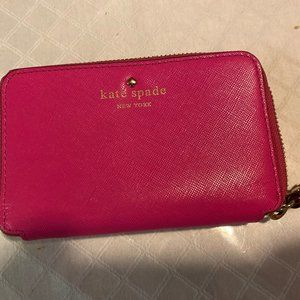 Kate Spade Hot Pink Leather Wristlet